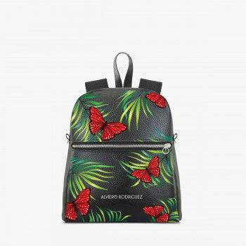 Zaino Zip Ecopelle Red Butterfly