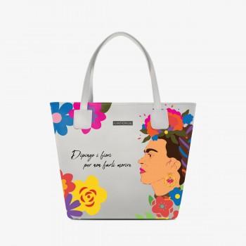 Shopper Deluxe Bianca Dipingo i Fiori..