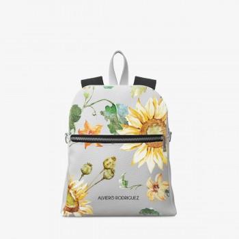 Zaino Zip Ecopelle Bianco Sunflowers