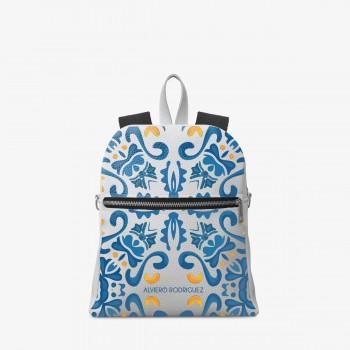 Zaino Zip Ecopelle Bianco Maioliche Blu