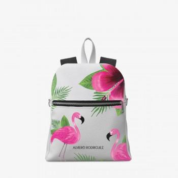 Zaino Zip Ecopelle Bianco Tropical Pink