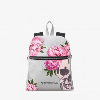 Zaino Zip Ecopelle Bianco Skull Roses