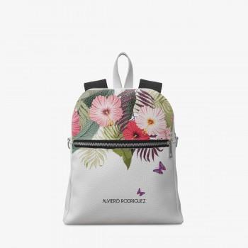 Zaino Zip Ecopelle Bianco Summer Flowers