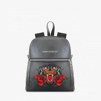 Zaino Zip Ecopelle Panther and Roses