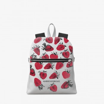 Zaino Zip Bianco Ecopelle Strawberries