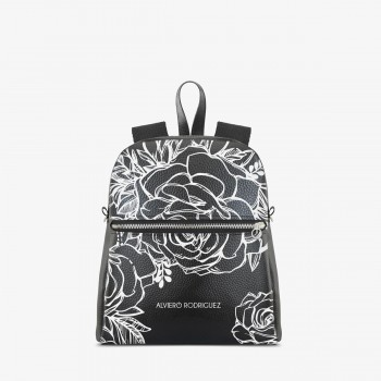 Zaino Zip Ecopelle Roses White