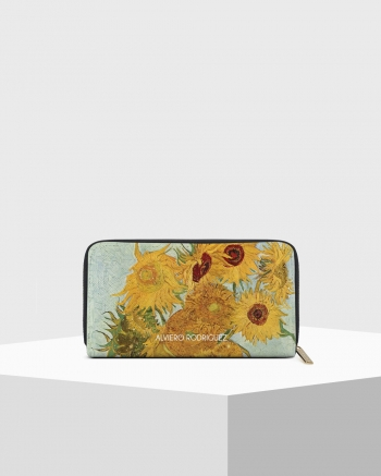 Sunflowers Saffiano Zip Wallet