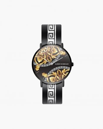 Reloj blanco de lujo negro