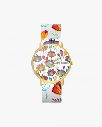 White Flower Clock Art