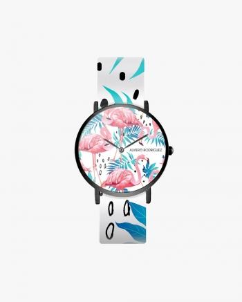 White Flamingos Clock