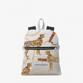 Zaino Zip Bianco Ecopelle Royal Leopard
