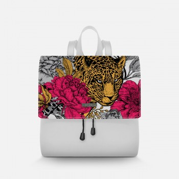 Zainetto Lux Bianco Floral Leopard